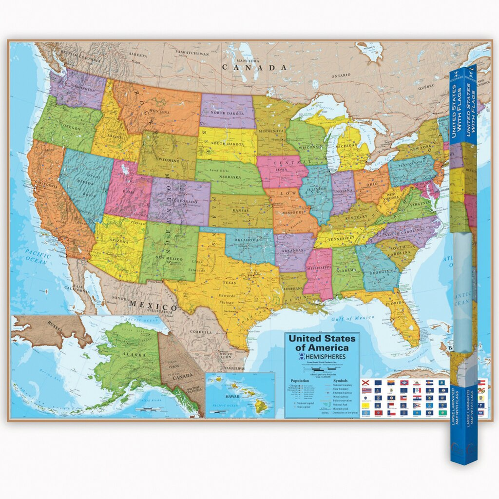 Hemispheres United States Laminated Map Count - Michaels us map