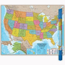 Hemispheres United States Laminated Map, 2 Count