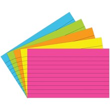 "3"" x 5"" Lined Index Cards, Brite Assortment"