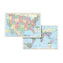U.S. & World Wall Map Combo Laminated
