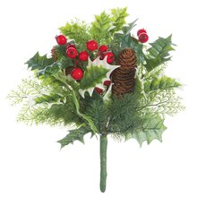 "12"" Holly Pine Cone Bouquet"