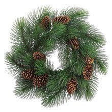 "33"" Long Needle Pine Wreath With Cones"