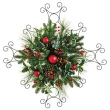 "24"" Holly Pine Cone Berry Wall Décor"