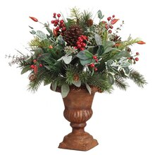 "20"" Iced Holly Berry Pine In Paper Mache Urn"