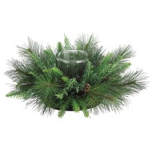 "24"" Pine Centerpiece With Glass Candleholder"