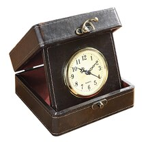 Collected Notions Faux Leather Travel Clock, Brown, medium