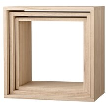Bloomingville Square Wooden Display Boxes, Natural & White