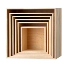 Bloomingville Square Wooden Display Boxes, 6 Pieces