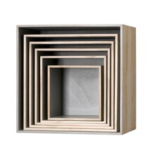 Bloomingville Square Wooden Display Boxes, Natural & Grey