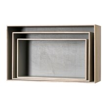 Bloomingville Wooden Display Boxes, Natural & Grey
