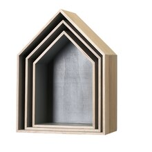 Bloomingville House-Shaped Display Boxes, 3 Pieces