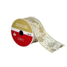 """Bow-Tique™ Silver & Gold Flower Christmas Ribbon By Celebrate It®, 2.5"""" x 25ft., medium"""