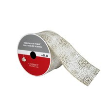 """Bow-Tique Champagne Glitter Christmas Ribbon By Celebrate It, 2.5"""" x 25ft."""