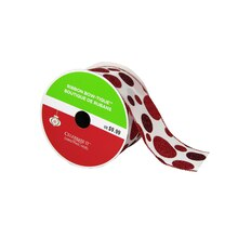 """Bow-Tique Red Dots Christmas Ribbon By Celebrate It, 2.5"""" x 25ft."""