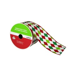"Bow-Tique™ Diamond Christmas Ribbon By Celebrate It®, 2.5"" x 25ft., medium"
