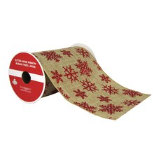 "Red Glitter Snowflake Extra Wide Ribbon By Celebrate It, 5.5"" x 6yd."