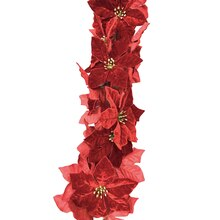 Red Velvet Poinsettia Chain Garland By Celebrate It