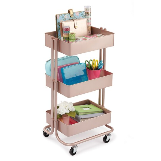 shop for the rose gold lexington 3 tier rolling cart by recollections at michaels. Black Bedroom Furniture Sets. Home Design Ideas
