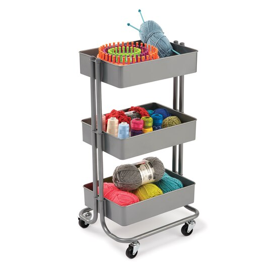 Find the gray lexington 3 tier rolling cart by for Michaels craft storage cart