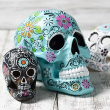 Teal Day of the Dead Skulls, medium