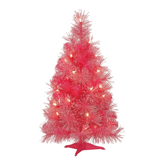 2 ft pre lit pink iridescent artificial christmas tree by celebrate it - Pink Christmas Tree Lights