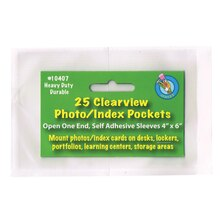 Photo/Index Card Clear Pockets, Pack of 25