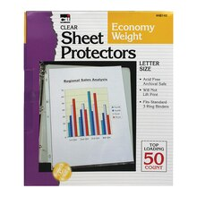 Charles Leonard Top Loading Sheet Protectors, Clear