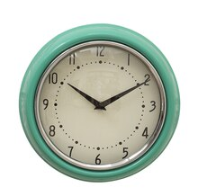 Urban Homestead Round Metal Wall Clock, Aqua