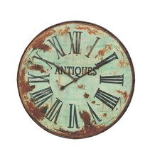 Casual Country Round Metal Wall Clock, Green