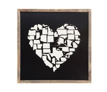 Casual Country US States in Heart Framed Wall Decor Accent