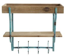 Casual Country Wall Rack with Shelves & Hooks