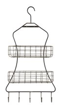 Casual Country Wall Rack with Wire Shelves & Hooks, medium
