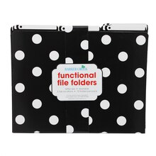 Black & White Dots Functional File Folders, 3 Packs