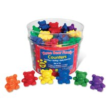 3 Sizes Bear Family Rainbow Counters Set, Pack of 96 Lined Up