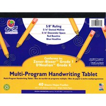 "Pacon Multi-Program Handwriting Tablets, 5/8"" Long Rule"