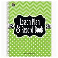 Lime Chevrons and Dots Lesson Plan & Record Book, 2 Count