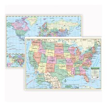 U.S. & World Wall Map Combo, 3 Packs