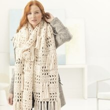 Lion Brand® Wool-Ease® Thick & Quick® Bonus Bundle Grande Fringed Crochet Super Scarf, medium