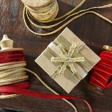 Gold Metallic Ribbon-Wrapped Gift, medium