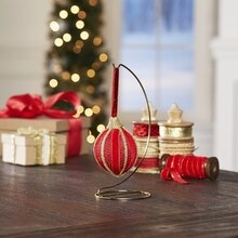 Velvet and Metallic Ribbon-Wrapped Ornament, medium