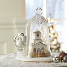 Silver and Gold Miniature Christmas Cloche, medium