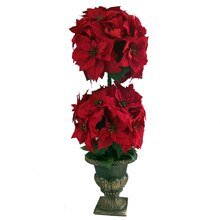 Deluxe Red Poinsettia Topiary Pot By Ashland