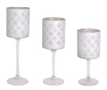 Silver Snowflake Candle Holder, Set of 3