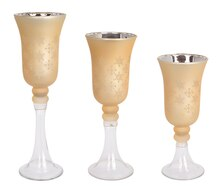 Gold Snowflake Candle Holder, Set of 3