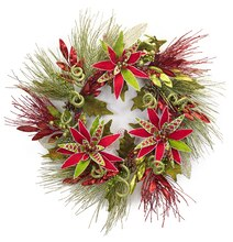 Long Needle Pine Wreath w/ Poinsettia