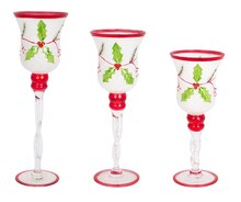 Holly Candle Holders, Set of 3