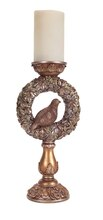 Partridge Wreath Candle Holder