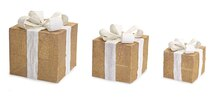 Gold LED Lighted Gift Box, Set of 3