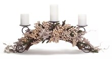 Metallic Berries & Pine Centerpiece Candle Holder