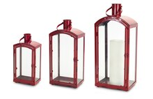 Red Metal Lanterns, Set of 3
